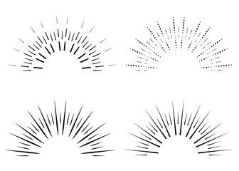Set of Vintage Sunbursts in Different Shapes. Trendy Hand Drawn Retro Bursting Rays Design Elements. Hipster