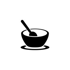 Bowl. Flat Vector Icon illustration. Simple black symbol on white background. Bowl sign design template for web and mobile UI element