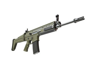 Modern army assault rifle - green - low angle shot - 3D Illustration