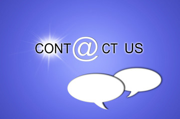 Contáctenos, contacto, globos de texto, comunicación, fondo azul iluminado