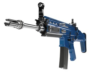 Metallic navy blue modern assault rifle - front view closeup shot - 3D Illustration