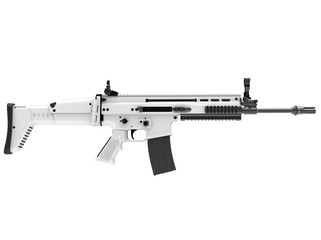 White winter modern assault rifle - side view - 3D Illustration