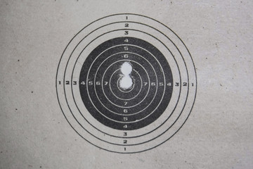 paper target on the wall with bullet holes