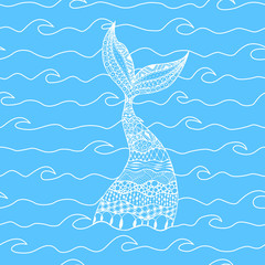 Vector seamless pattern of white line sea waves with doodle mermaid tail on blue background. Decorative mermaid tail background