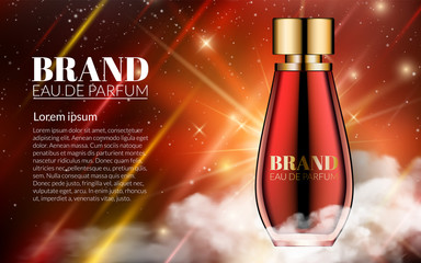 Romantic Cosmetic Design Red Glass Bottle Perfume. Background. Modern Design Advertising for Sales. Luxury Night Space Background. Template on your text. Vector Realistic 3d illustration