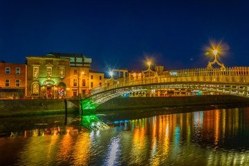 Night view of the riverside of Liffey in Dublin, Ireland