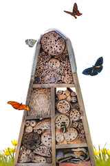Insect hotel with flying butterflies