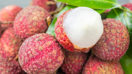 red exotic Chinese lychee fruits