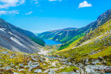 Fototapete - Aerial view of the upper and lower lake in Glendalough, Ireland