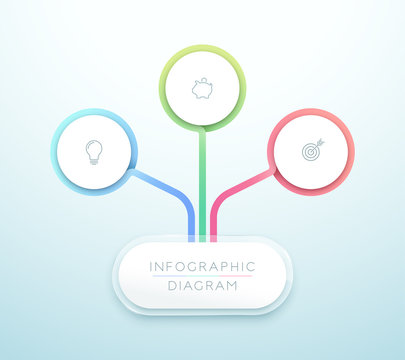 Business Chart 3 Step 3d Circle Infographic Vector