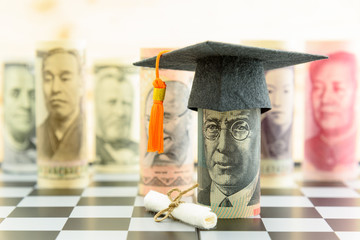 Graduation cap put on AUD 20 dollar bill, a diploma or certificate, famous currencies. Concept of competition on education market which students seek to study at the best and prestigious institution.
