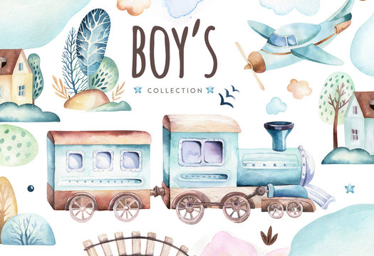 Baby boys world. Cartoon airplane and waggon locomotive watercolor illustration. Child birthday set of plane, and air vehicle, transport elements. isolated baby shower card
