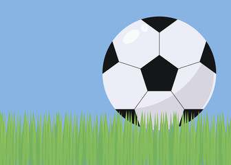 illustration with bright green grass football field blue sky and black and white voluminous simple soccer ball with gloss and shadow vector background