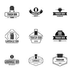 Garbage collection logo set. Simple set of 9 garbage collection vector logo for web isolated on white background
