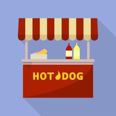 Hot dog street shop icon. Flat illustration of hot dog street shop vector icon for web design