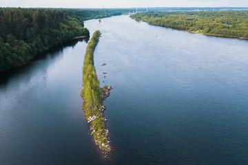 Svir river bird's-eye view, Karelia, Russia.