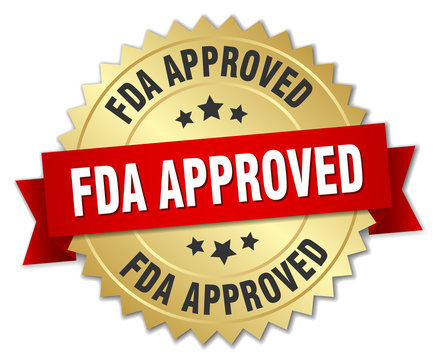 fda approved round isolated gold badge