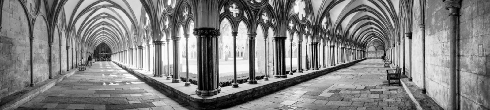 Salisbury cathederal cloisters, panoramic of two cloister walk ways