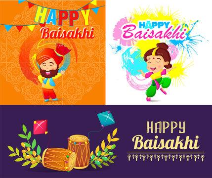 Baisakhi festival harvest bhangra banner concept set. Cartoon illustration of 3 Baisakhi festival harvest bhangra vector banner horizontal concepts for web