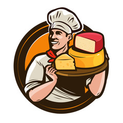 Chef holding a tray of cheese. Food, eating concept. Vector illustration