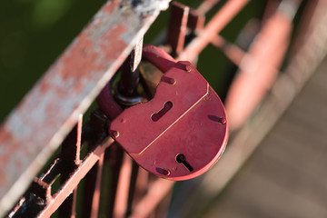 Red lock on thick rope, Symbol of Love