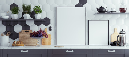 Mock up poster frames in kitchen interior,  panoramic background, 3d render