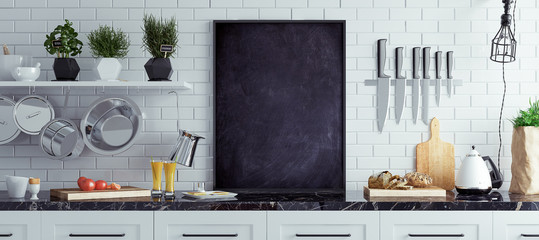 Mock up chalkboard in kitchen interior, Scandinavian style, panoramic background, 3d render