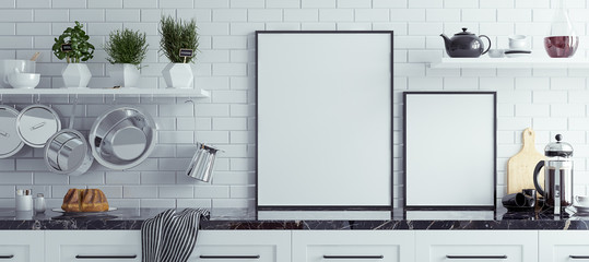 Mock up poster frame in kitchen interior, Scandinavian style, panoramic background, 3d render