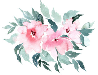 Flowers watercolor illustration, isolated on white background