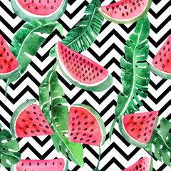 Watercolor seamless pattern with tropical leav and watermelon.