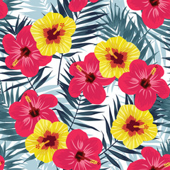 Tropical jungle seamless pattern with palm leaves and hibiscus flowers. Summer fabric floral design, vector illustration background.