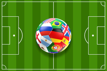 soccer ball with Russia flag and others 3d rendering