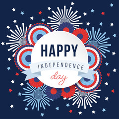 Happy Independence day, 4th July national holiday. Festive greeting card, invitation with fireworks and bunting party decorations in USA flag colors. Vector illustration background, web banner.