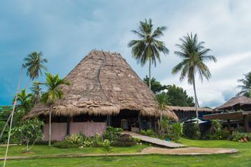 Fototapeta bamboo hut sea beach at koh mak trat province Thailand