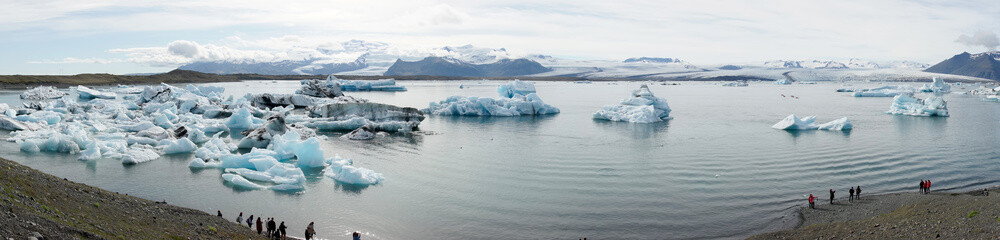 Panorama view from the Glacier lagoon Jökulsarlon in Iceland
