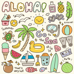 Set of Cute Summer Holiday Doodle