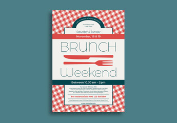 Brunch Flyer Layout with Red Gingham Element