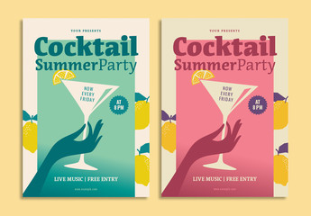 Summer Party Cocktail Flyer Layout