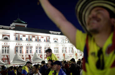 Colombian fans are pictured at FIFA Fan Fest in downtown of Saransk