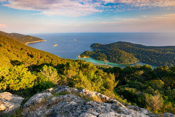 Stunning and colorful view at Mljet island in Croatia