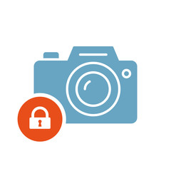Photo camera icon, technology icon with padlock sign. Photo camera icon and security, protection, privacy symbol