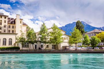 Beautiful river landscape of Interlaken, Switzerland