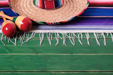 Mexico mexican sombrero maracas fiesta wood background