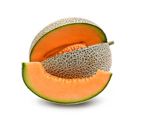 orange melon or cantaloupe with seeds isolated on white background