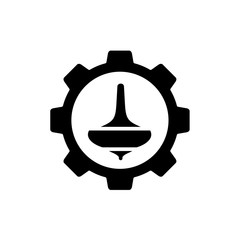 Spin Top Gasing Combined With Gear Symbol, Vector Logo or Icon Design