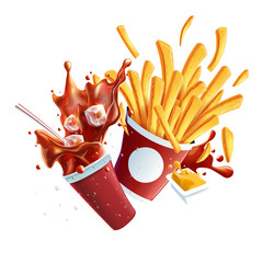 Soda and Fries Dynamic Collision. Vector Objects Isolated on White Background.