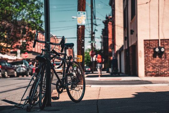Bike Leaning on Street side on South Philadelphia Street