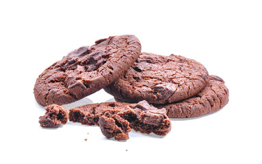 dark chocolate soft cookies isolated on white background