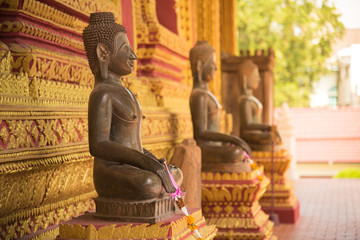 Public places of Buddha Statue with sunlight at hor phra kaew vientiane laos
