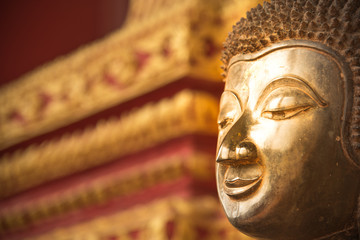 face of buddha statue at hor phra kaew vientiane laos capital